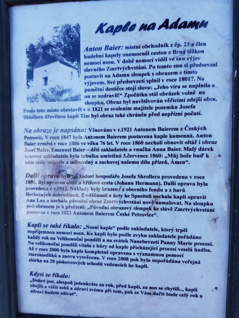 Informační cedulka u kaple na Adamu v Českých Petrovicích